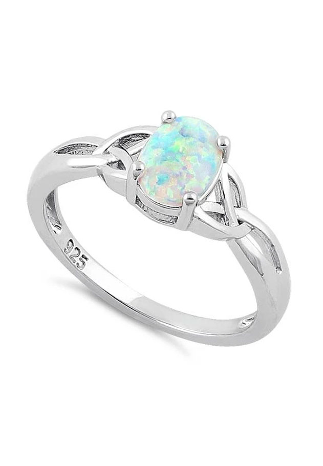 Glimmering Opal Trinity Knot Ring