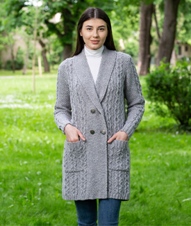 Shawl Collar Aran Knit Coat