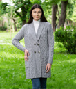 Double Breasted Shawl Collar Knitted Long Cardigan Coat Made of Merino Wool Gray Gaelsong