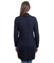 Double Breasted Shawl Collar Knitted Long Cardigan Coat Made of Merino Wool Navy Blue Gaelsong