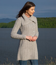 Aran Four Buttons Collar Knitted Cardigan Coat Made of Merino Wool Gray Gaelsong