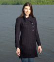Aran Four Buttons Collar Knitted Cardigan Coat Made of Merino Wool Navy Blue Gaelsong