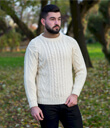 Traditional ran Crew Neck Sweater Made of Merino Wool Natural White Gaelsong
