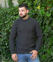Traditional ran Crew Neck Sweater Made of Merino Wool Charcoal Gaelsong
