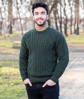 Men's Aran Crew-Neck Sweater