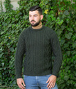 Traditional ran Crew Neck Sweater Made of Merino Wool Army Green Gaelsong