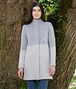 Ladies Herringbone Wool Coat Grey 1 Gaelsong