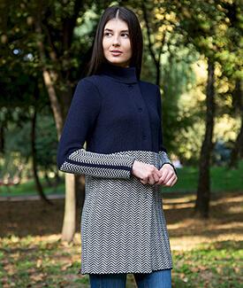 Ladies Herringbone Wool Coat