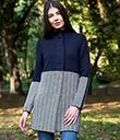 Ladies Herringbone Wool Coat Navy 2 Gaelsong