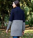 Ladies Herringbone Wool Coat Navy 3 Gaelsong
