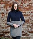Ladies Herringbone Wool Coat Navy 4 Gaelsong