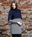 Ladies Herringbone Wool Coat Navy 5 Gaelsong
