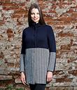 Ladies Herringbone Wool Coat Navy 6 Gaelsong