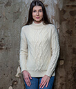 Turtle Neck Cable Sweater White Merino Wool 1 Gaelsong