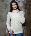 Turtle Neck Cable Sweater White Merino Wool 2 Gaelsong