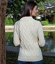 Turtle Neck Cable Sweater White Merino Wool 3 Gaelsong