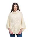 Cable Stitch Poncho White Irish Merino Wool 1 Gaelsong