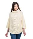 Cable Stitch Poncho White Irish Merino Wool 2 Gaelsong