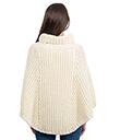 Cable Stitch Poncho White Irish Merino Wool 3 Gaelsong