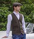 Tweed Vest Brown Irish-Woven Herringbone Gaelsong