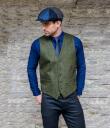 Tweed Vest Green Irish-Woven Herringbone Gaelsong