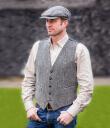 Tweed Vest Grey Irish-Woven Herringbone Gaelsong