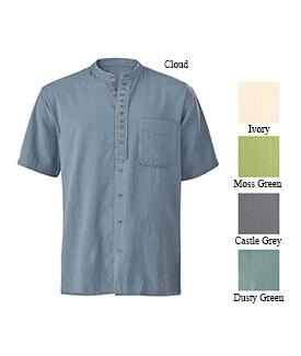 Homespun-Style Short-sleeved Men's Shirt
