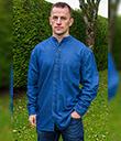Denim Irish Grandfather's Banded Collar Shirt