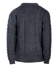 Traditional Irish Aran Crew Neck Cable Knit Sweater Made of Merino Wool Charcoal Back Gaelsong