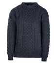 Traditional Irish Aran Crew Neck Cable Knit Sweater Made of Merino Wool Charcoal Front Gaelsong