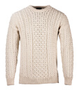 Traditional Irish Aran Crew Neck Cable Knit Sweater Made of Merino Wool Natural White Front Gaelsong