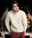 Traditional Irish Aran Crew Neck Cable Knit Sweater Made of Merino Wool Natural White Gaelsong