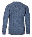 Traditional Irish Aran Crew Neck Cable Knit Sweater Made of Merino Wool Denim Back Gaelsong