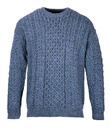 Traditional Irish Aran Crew Neck Cable Knit Sweater Made of Merino Wool Denim Front Gaelsong