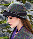 Tweed Hat with Black Band and Button Trim