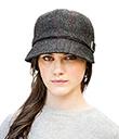 Charcoal Tweed Ladies Flapper Hat