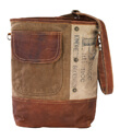 Peace And Patience Shoulder Bag Made of Repurposed Military Canvas Tents and Distressed Leather Gaelsong