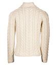 Aran Assymetrical Irish Three Button Cardigan Made of Merino Wool Natural White Gaelsong