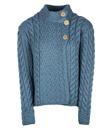 Aran Assymetrical Irish Three Button Cardigan Made of Merino Wool Sea Blue Gaelsong
