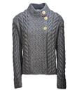 Aran Assymetrical Irish Three Button Cardigan Made of Merino Wool Storm Gray Gaelsong