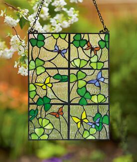 Shamrocks and Butterflies Window