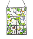 Shamrocks And Butterflies Window Panel Made of Stained Glass Gaelsong