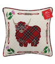 Scottish Pillows with Highland Cow Made of Cotton Red and White Tartan Gaelsong