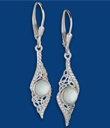 Moondance Trinity Knot Mother Of Pearl Earrings Made of Sterling Silver Gaelsong