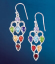 Chakra Balance Earrings on Blue Background Gaelsong