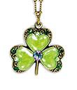 Enameled Shamrock Pendant Emerald Green Swarovski Crystals Gaelsong 2