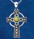 Connemara Marble Celtic Cross Gaelsong on Blue Background