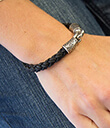 Braided Leather Bracelet Black Color 2 Gaelsong