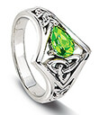 Peridot and Knot Ring on White Background 2 Gaelsong