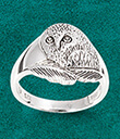 Silver Owl Ring on Blue Background Gaelsong